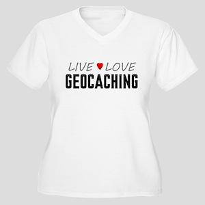 Live Love Geocaching Women's Plus Size V-Neck T-Sh