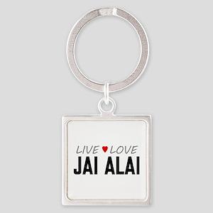 Live Love Jai Alai Square Keychain