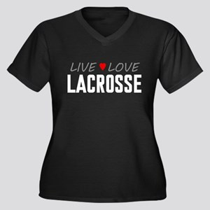 Live Love Lacrosse Women's Dark Plus Size V-Neck T