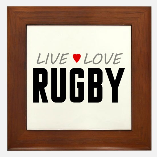 Live Love Rugby Framed Tile