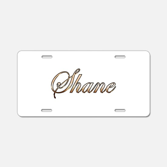 Gold Shane Aluminum License Plate