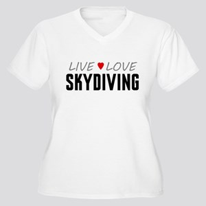 Live Love Skydiving Women's Plus Size V-Neck T-Shi