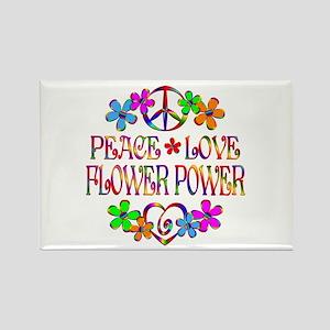 Peace Love Flower Power Rectangle Magnet