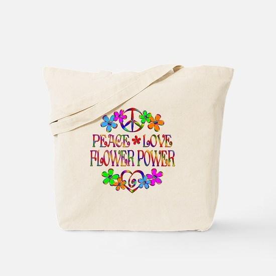 Peace Love Flower Power Tote Bag