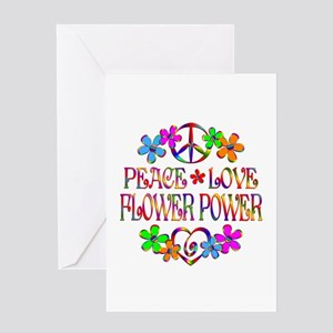 Peace Love Flower Power Greeting Card