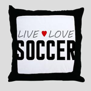 Live Love Soccer Throw Pillow