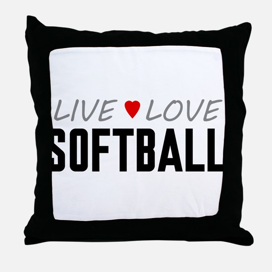 Live Love Softball Throw Pillow
