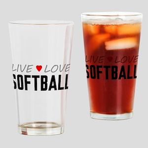 Live Love Softball Drinking Glass