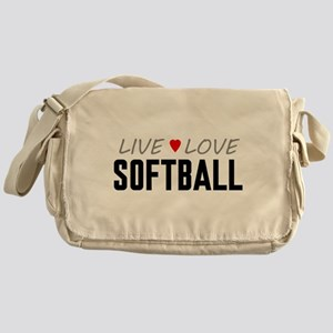 Live Love Softball Canvas Messenger Bag