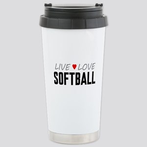 Live Love Softball Ceramic Travel Mug
