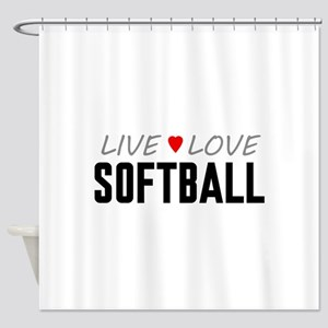 Live Love Softball Shower Curtain