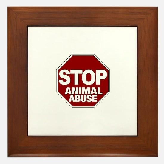 Stop Animal Abuse Framed Tile