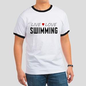 Live Love Swimming Ringer T-Shirt