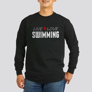 Live Love Swimming Long Sleeve Dark T-Shirt