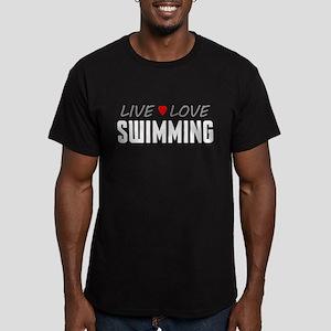 Live Love Swimming Men's Dark Fitted T-Shirt