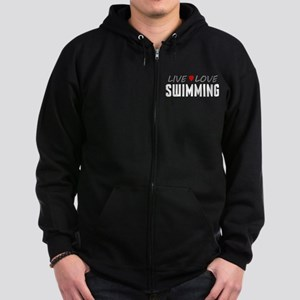 Live Love Swimming Dark Zip Hoodie