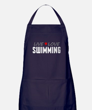 Live Love Swimming Dark Apron