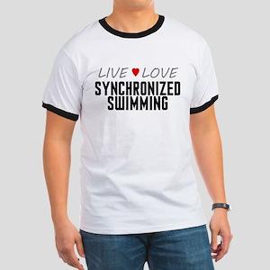 Live Love Synchronized Swimming Ringer T-Shirt
