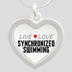 Live Love Synchronized Swimming Silver Heart Neckl