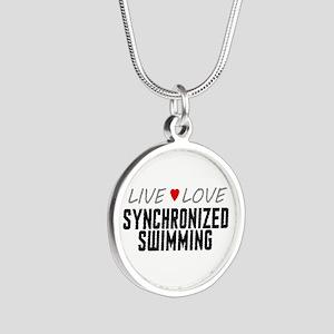 Live Love Synchronized Swimming Silver Round Neckl