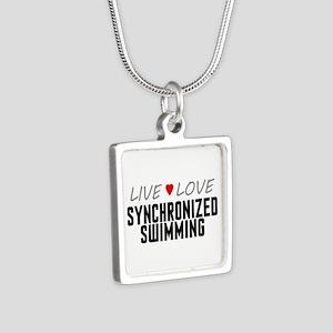 Live Love Synchronized Swimming Silver Square Neck