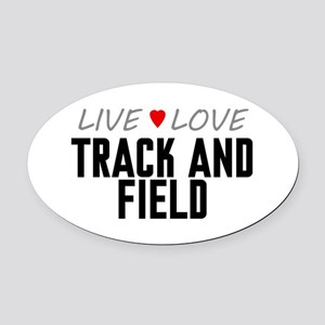Live Love Track and Field Oval Car Magnet