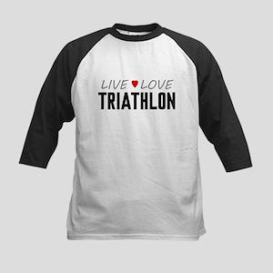 Live Love Triathlon Kids Baseball Jersey