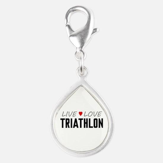 Live Love Triathlon Silver Teardrop Charm