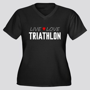 Live Love Triathlon Women's Dark Plus Size V-Neck