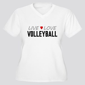Live Love Volleyball Women's Plus Size V-Neck T-Sh