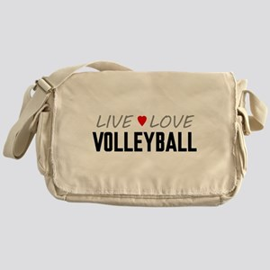 Live Love Volleyball Canvas Messenger Bag