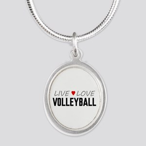 Live Love Volleyball Silver Oval Necklace