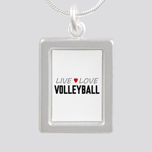 Live Love Volleyball Silver Portrait Necklace