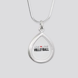Live Love Volleyball Silver Teardrop Necklace