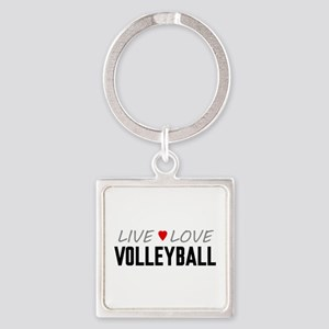 Live Love Volleyball Square Keychain