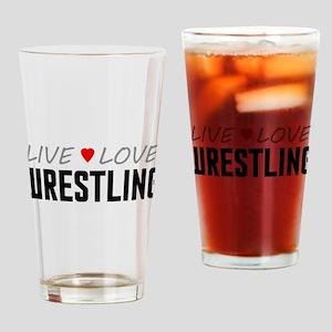 Live Love Wrestling Drinking Glass
