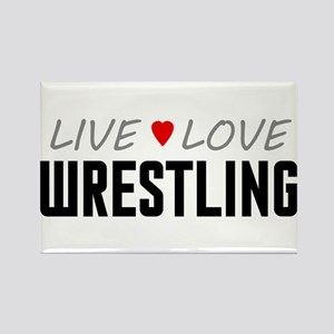 Live Love Wrestling Rectangle Magnet