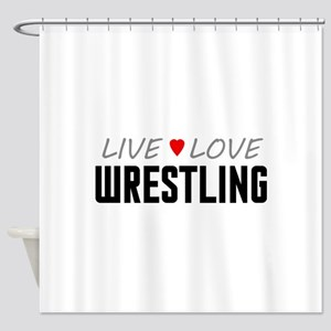 Live Love Wrestling Shower Curtain