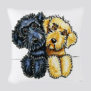 Labradoodles Lined Up Woven Throw Pillow