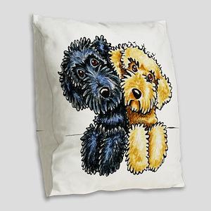 Labradoodles Lined Up Burlap Throw Pillow