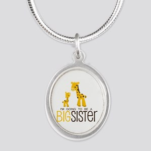 I'm going to be a big sister Silver Oval Necklace