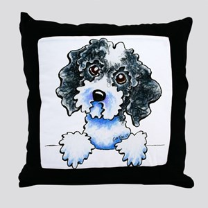 Black Parti Cockapoo Lined Throw Pillow