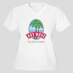Retro Key West - Women's Plus Size V-Neck T-Shirt