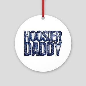 Blue Hoosier Daddy Round Ornament