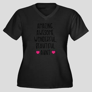 Amazing Aunt Women's Plus Size V-Neck Dark T-Shirt