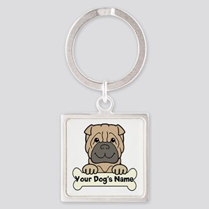 Personalized Shar-Pei Square Keychain