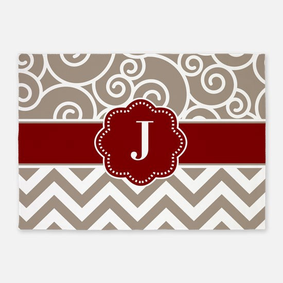 Tan Red Swirls Chevron Monogram 5'x7'Area Rug