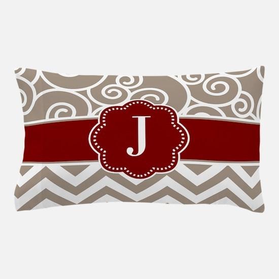 Tan Red Swirls Chevron Monogram Pillow Case