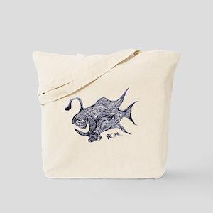 Blue Chrome Retro Fish A. Fish Retro Tuna Tote Bag