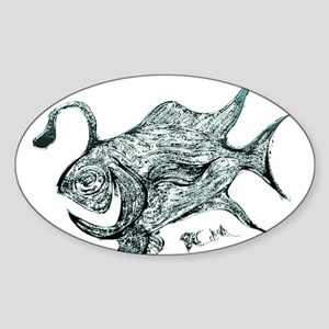 Green Chrome Retro Fish. Fish Retro Tuna R Sticker